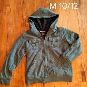 Boys Hooded Winter Coat Gray Size M 10/12